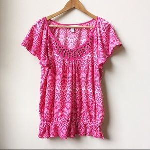 French Laundry pink studded gathered top large